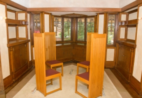 The dining room with Wright's high back chairs