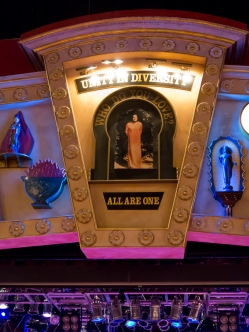 "Above the stage at the House of Blues, ""Unity in Diversity: All Are One"""