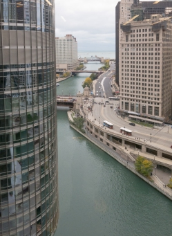 The view of the Chicago River from the offices of Thornton Tomasetti, Inc., in IBM Plaza, designed by Mies van der Rohe