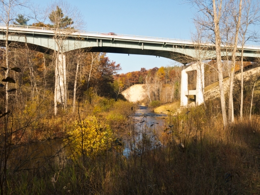 The Pine River as it passes under Peterson Bridge at M-37