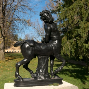"""A bronze reproduction of an old centaur (""""Vecchio Centauro"""" ), originally sculpted in black marble by Aristeas and Papias in AD130"""