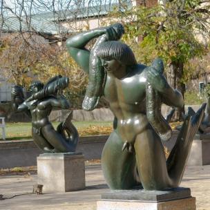 Sculptures by Carl Milles in the Triton Pools designed by Eliel Saarinen (1916)