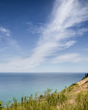 Looking northwest over Empire Bluff to the Manitou Passage.