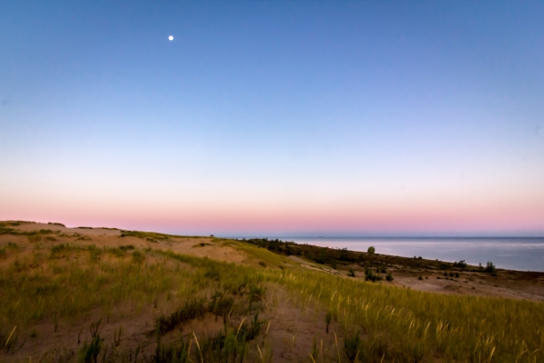 The moon over Lake Michigan, as seen from the Sleeping Bear Dune Trail.